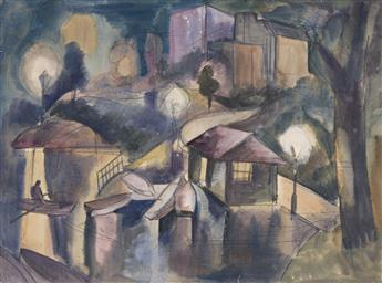 JAN MATULKA (1890 - 1972, CZECH/AMERICAN) Untitled, (Central Park), and Untitled, (Paris Scene), Double sided.
