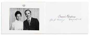 HUSSEIN AND NOOR AL-HUSSEIN; KING AND QUEEN OF JORDAN. Group of 6 greeting cards, each Signed by both.