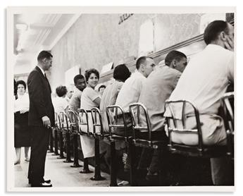(CIVIL RIGHTS.) Pair of photographs of a CORE sit-in at a New Orleans Woolworths lunch counter.