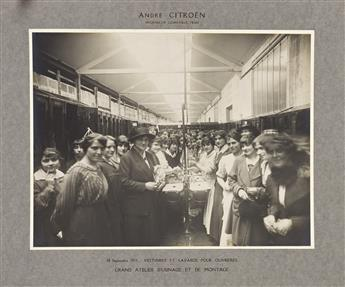 (FRANCE--WORLD WAR I) An album entitled Usine [Factory] André Citroën, with 59 photographs of the munitions plant and its employees.