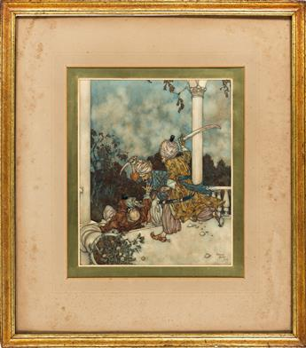 EDMUND DULAC (1882-1953) They overtook him just as he reached the steps of the main porch. [FAIRY TALES / BLUE BEARD]