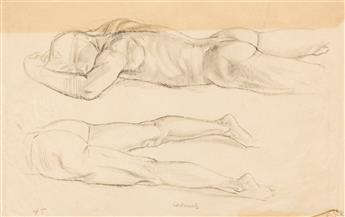 PAUL CADMUS (1904 - 1999) Two pencil drawings of male nudes.