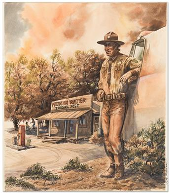 ERNEST FRANKLIN (1942-2010) Jim Chee / Mexican Water Trading Post. [NATIVE AMERICAN ART / TONY HILLERMAN]