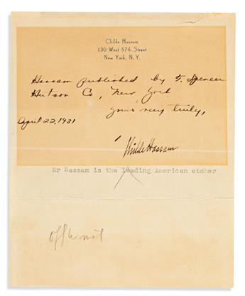 (ARTISTS.) Group of 8 items Signed, or Signed and Inscribed, by a 20th-century fine artist or illustrator.