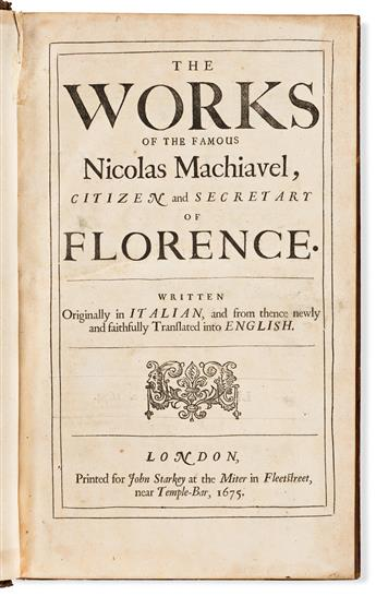 Machiavelli, Niccolò (1469-1527) The Works.