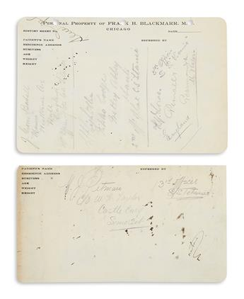 (TITANIC.) Signatures of the Titanics 4 surviving officers, collected aboard the Carpathia.