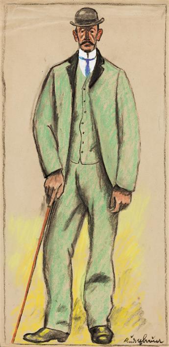 RUDOLF BAUER (1889 - 1953, GERMAN/AMERICAN) Untitled, (Man in Green Suit).