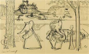 LAURENT DE BRUNHOFF. Sketch for the garden of the