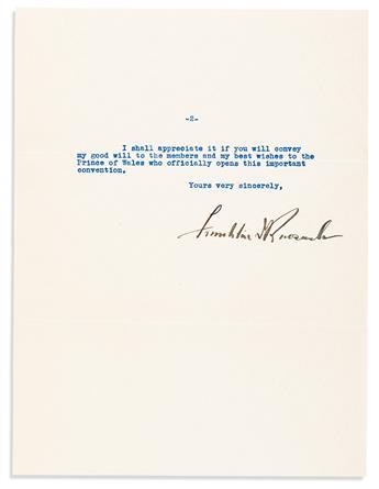 ROOSEVELT, FRANKLIN D. Typed Letter Signed, as Governor, to educator John Robert Gregg,