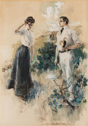 """HOWARD CHANDLER CHRISTY (1872-1952) """"In the Field: He felt that he must take her in his arms . . ."""" [SCRIBNER'S / GOLF / WOMEN]"""
