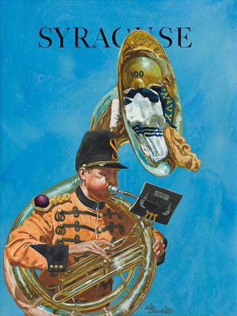 GIBSON CROCKETT (1912-2000) Navy vs. Syracuse. [FOOTBALL / MUSIC]