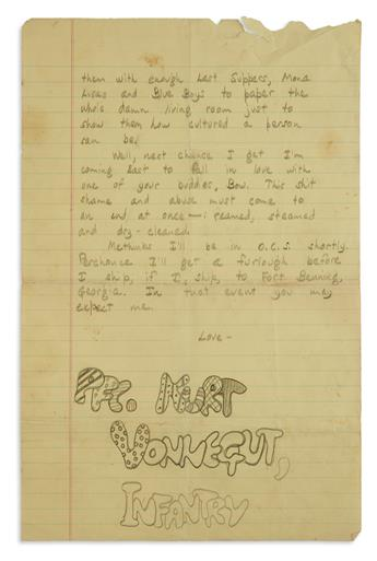 LETTERS TO HIS FAMILY WHILE SERVING IN THE U.S. ARMY KURT VONNEGUT. Archive of 12 letters Signed, Kay or K...