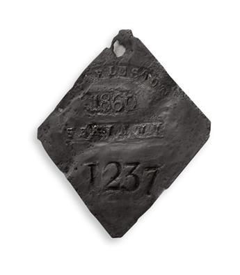 (SLAVERY AND ABOLITION.) Charleston slave tag.
