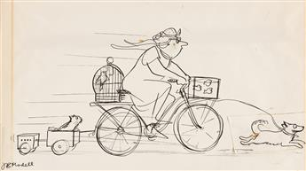 FRANK MODELL (1917-2016) Bicycle Menagerie. [CARTOONS / NEW YORKER]