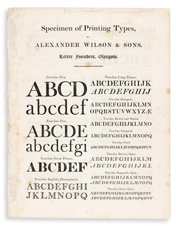 [SPECIMEN BOOK -- ALEXANDER WILSON & SONS]. Specimen of Printing Types. Glasgow: Alexander Wilson & Sons, 1819.