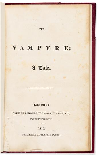 POLIDORI, JOHN. The Vampyre; a Tale.