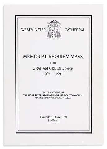 [GREENE, GRAHAM.] Tributes to Graham Greene ... at the Memorial Requiem Mass at Westminster Cathedral.