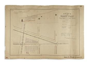 (NEW YORK CITY.) Nine finely drawn manuscript street plans delineating parts of lower Manhattans sewer network.