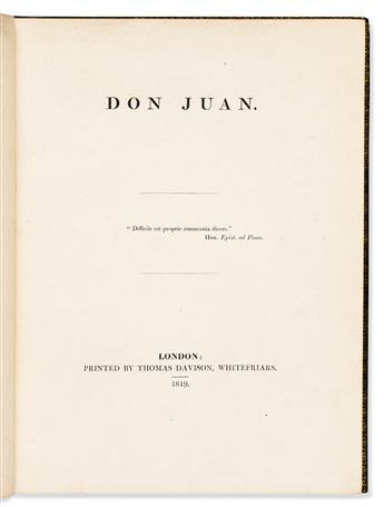 BYRON, LORD GEORGE GORDON NOEL. Don Juan, Cantos I-XVI.