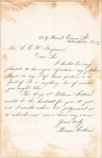 (ART.) Scrapbook of letters to art editor Samuel G.W. Benjamin, including Eakins, Church and dozens more.