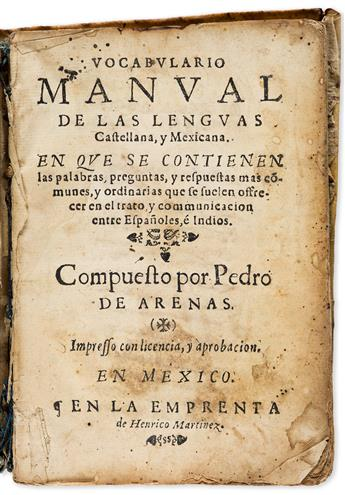 (MEXICAN-IMPRINT--1611)-Pedro-de-Arenas-Vocabulario-manual-de-las-lenguas-castellana-y-mexicana