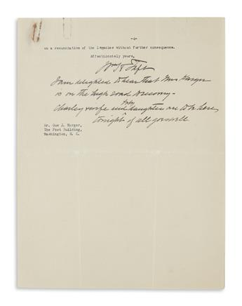TAFT, WILLIAM HOWARD. Group of three Typed Letters Signed, WmHTaft, each to correspondent for the Cincinnati Times-Star Gus J. Karger