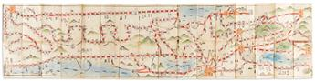 (JAPAN -- TOKAIDO.) Manuscript map of the Tokaido Road and other routes.