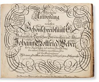 [WRITING MANUAL]. WEBER, JOHANN GOTTFRIED. Allgemein Univeisung der neuesten Schonschreibtunst… Duisburg: Helmingschen Universitats Buc