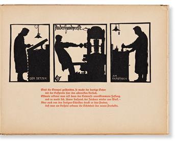 KOCH, RUDOLF. Die Schriftgiesserei im Schattenbild [The foundry in silhouettes]. Offenbach am Main: Privately printed, Gbr. Klingspor,