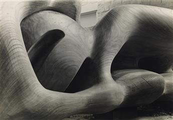 HENRY MOORE (1898-1896) Detail of Reclining Figure (Elm Wood).