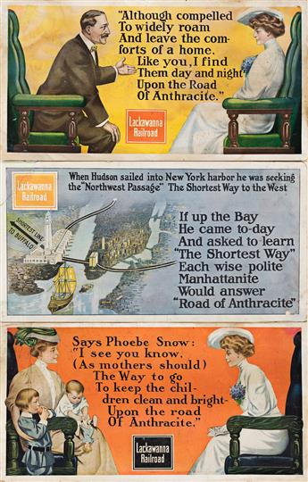 Designers Unknown.  LACKAWANNA RAILROAD. Group of 3 window cards. Circa 1910.