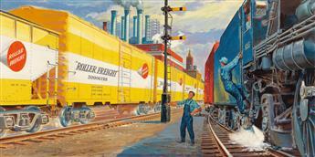 (ADVERTISING--TRAINS)-JOHN-F-GOULD-Timken-Roller-Freight