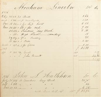 (LINCOLN, ABRAHAM.) Bennett, John. Pair of general store account books including an account with young Abraham Lincoln.