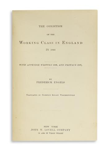 (ECONOMICS.) ENGELS, FREDERICK. The Condition of the Working Class in England in 1844.