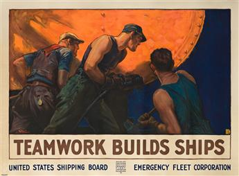WILLIAM DODGE STEVENS (1870-1942).  TEAMWORK BUILDS SHIPS. Circa 1918. 36x49½ inches, 91½x125¾ cm. Forbes, Boston.