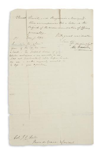 HAMILTON, ALEXANDER. Letter Signed, Alex Hamilton, as Inspector General, to Colonel Josias Carvel Hall,
