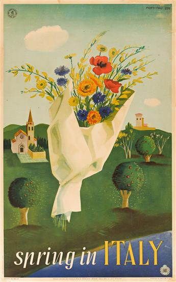 MANNO PREVITALI (DATES UNKNOWN) & ALFREDO LALIA (1907-?).  [SEASONS IN ITALY.] Group of 4 posters. 1950-1951. Each approximately 39x24
