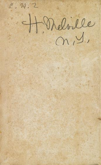 MELVILLE, HERMAN. Two volumes, the first Signed, H. Melville / N.Y., on the front free endpaper, and annotated throughout with over 1
