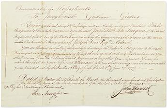 (AMERICAN REVOLUTION.) HANCOCK, JOHN. Document Signed, as Governor, appointing Joseph Fisk Surgeon of the First Regiment of Foot