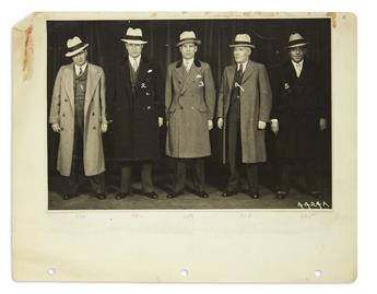 (CRIME.) Unpublished photographs of Al Capone and henchmen, in a scrapbook compiled by one of the Untouchables.
