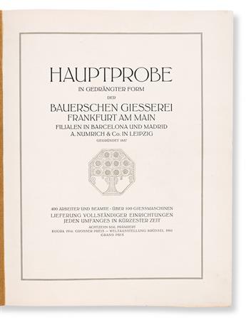[SPECIMEN BOOK — BAUERSCHEN GIESSEREI]. Hauptprobe in Gedragter Form der Bauerschen Giesserei Frankfurt am Main… Presumably Frankfurt,