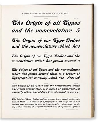 [SPECIMEN BOOK — STEPHENSON, BLAKE & CO. AND SIR CHARLES REED & SONS]. Specimens of Point Line Type: Borders, Ornaments, Brass Rules, P