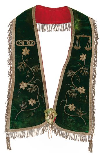"""(FRATERNAL.) BOWSER, DAVID BUSTILL. A pair of elaborate and unusual Masonic vests, each with the oval stamp of """"Mrs. D[avid]. B[ustil]."""