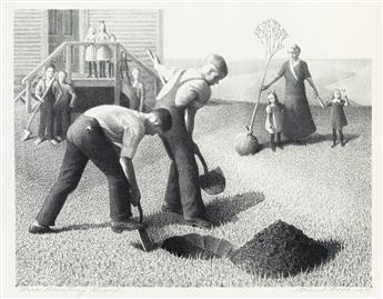 GRANT WOOD (1891-1942) Tree Planting Group.