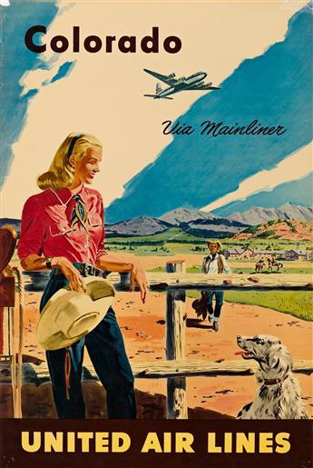 Signature Illegible.  COLORADO VIA MAINLINER / UNITED AIR LINES. Circa 1948.
