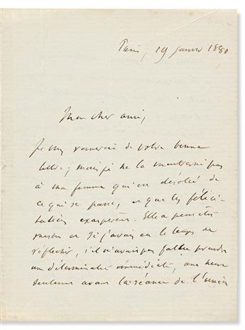 (MEDICINE.) BROCA, PAUL. Autograph Letter Signed, PBroca, to My dear friend, in French,