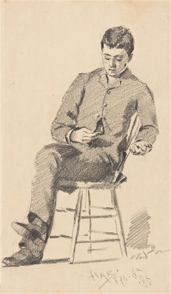 JOHN HABERLE Two pencil drawings.