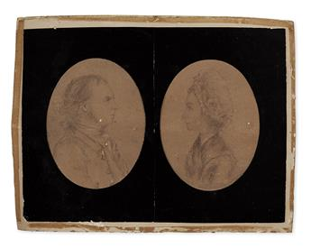 (AMERICAN REVOLUTION.) [André, John.] Pencil portrait of Abraham and Jannetje Cuyler of Albany, NY.