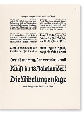 [SPECIMEN BOOK —RUDOLF KOCH]. Halbfette Deutsche Schrift. Gebrüder Klingspoor, Offenbach, 1913.