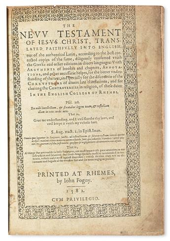 BIBLE IN ENGLISH.  The New Testament of Jesus Christ translated faithfully into English.  1582